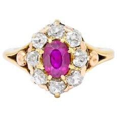 Victorian 1.70 CTW Ruby Diamond 14 Karat Gold Cluster Ring
