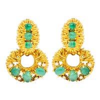 Vintage 6.74 CTW Emerald Diamond 18 Karat Gold Doorknocker Ear-Clip Earrings