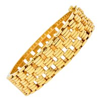 Tiffany & Co. Retro 14 Karat Gold Link Bangle Bracelet Circa 1940s