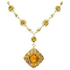 Art Nouveau 45.00 CTW Citrine 14 Karat Gold Foliate Pendant Brooch Necklace