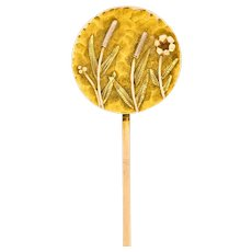 Art Nouveau Tri-Colored Gold Hammered Wildflower Stickpin
