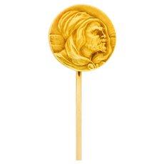 Art Nouveau 14 Karat Gold Hooded Prophet Stickpin