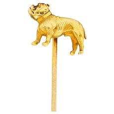Tiffany & Co. Art Nouveau 18 Karat Yellow Gold Bulldog Stickpin