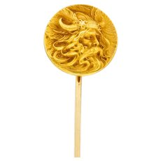 Art Nouveau 14 Karat Gold Viking Stickpin
