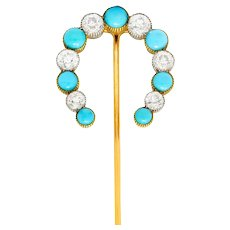 Substantial Tiffany & Co. Edwardian 1.78 CTW Diamond Turquoise Platinum 18 Karat Gold Horseshoe Stickpin