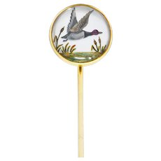 Marcus & Co. Victorian Painted Carved Rock Crystal 14 Karat Gold Stickpin