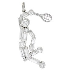 Vintage 0.90 CTW Diamond Platinum Tennis Player Charm