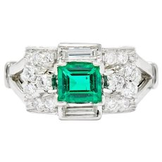 Tiffany & Co. Emerald Baguette Brilliant Diamond Platinum Ring Circa 1950