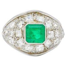 Art Deco 3.60 CTW Emerald Diamond 18 Karat White Gold Cluster Band Ring