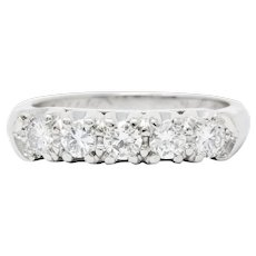 1950's Mid-Century 0.70 CTW Diamond Platinum Five Stone Band Ring