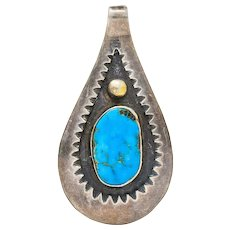 Frank Patania Jr. Turquoise Sterling Silver Anglo Native American Pendant