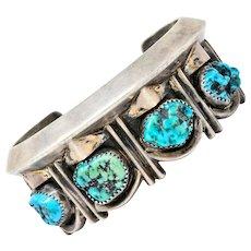 Vintage Navajo Turquoise Nugget Sterling Silver Cuff Bracelet