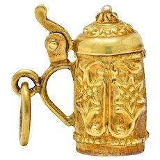 Art Nouveau Articulated 14 Karat Gold Floral German Beer Stein Charm