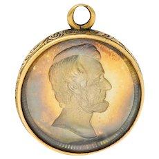 1865 Victorian 14 Karat Gold US Mint Washington Lincoln Coin Pendant