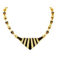 Vintage 3.05 CTW Diamond Onyx 18 Karat Gold Pointed Collar Necklace