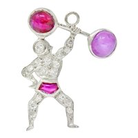 Large Art Deco Ruby Cabochon Diamond Platinum Strong Man Weightlifter Charm