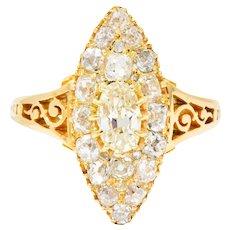 Victorian 1.90 CTW Diamond 18 Karat Gold Navette Cluster Ring