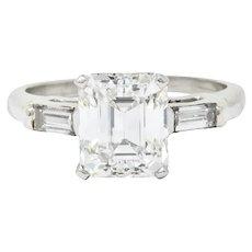 1950's Mid-Century 2.72 CTW Emerald Cut Diamond Platinum Engagement Ring GIA