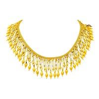 Castellani Etruscan Revival Enamel 18 Karat Gold Fringe Melos Drop Necklace Circa 1860