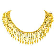 Castellani Etruscan Revival Enamel 18 Karat Gold Fringe Melos Drop Necklace Circa 1860