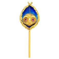 Arts & Crafts Plique-à-Jour Enamel Ruby 18 Karat Gold Foliate Owl Stickpin