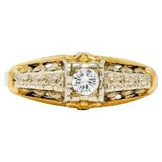Granat Brothers Diamond 14 Karat Two-Tone Gold Orange Blossom Engagement Ring