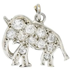 Art Deco Pave Diamond Platinum Elephant Charm