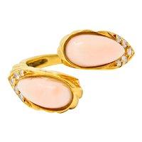 Vintage Coral Diamond 18 Karat Gold Bypass Ring