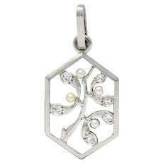 Edwardian Diamond Seed Pearl Platinum Hexagonal Maple Branch Charm