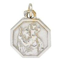 Art Deco French 18 Karat White Gold St. Christopher Charm