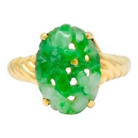 Tiffany & Co. Retro Carved Jade 14 Karat Gold Floral Ring