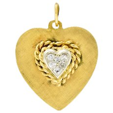 Retro Pave Diamond Platinum-Topped 14 Karat Gold Heart Charm