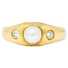 Victorian Pearl Diamond 14 Karat Gold Three Stone Gypsy Ring