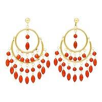 Vintage Coral 14 Karat Gold Articulated Chandelier Hoop Earrings