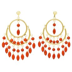 Vintage Coral 14 Karat Gold Articulated Chandelier Hoop Earrings