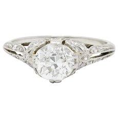 Edwardian 1.52 CTW Diamond Platinum Bow Engagement Ring
