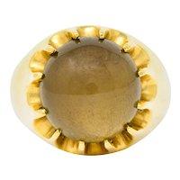 1960's Vintage Star Quartz 18 Karat Gold Belcher Set Statement Ring