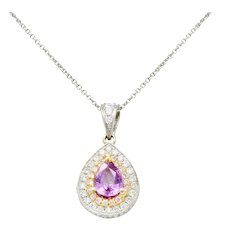 Charles Krypell Pink Sapphire Pink and White Diamond 18 Karat Two-Tone Gold Pear Drop Pendant
