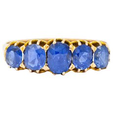 Victorian 1.92 CTW Sapphire 14 Karat Gold Five Stone Band Ring
