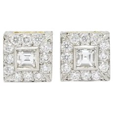 Michael Beaudry Diamond Platinum 18 Karat Gold Square Halo Stud Earrings
