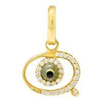 Protective Contemporary Diamond 18 Karat Gold Evil Eye Charm