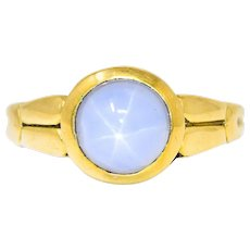 Tiffany & Co. Art Nouveau Star Sapphire 18 Karat Gold Cabochon Ring Circa 1910
