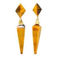 1980's Vintage Tiger's Eye Quartz 14 Karat Gold Pyramidal Drop Earrings