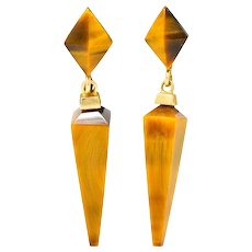 1980's Vintage Tiger's Eye Quartz 14 Karat Gold Pyramidal Drop Earrings