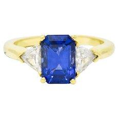 Vintage 3.20 CTW Sapphire Diamond 18 Karat Gold Three Stone Ring