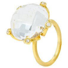 Faceted Rock Crystal Quartz Diamond 18 Karat Gold Floral Statement Ring