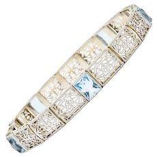 Edwardian Aquamarine 14 Karat Platinum Gold Pierced Floral Link Bracelet