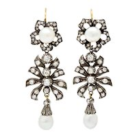 Victorian Diamond Natural Pearl Gold Silver Floral Drop Earrings GIA