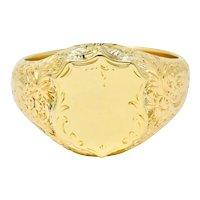 Victorian 18 Karat Yellow Gold Unisex Floral Shield Unisex Signet Ring