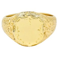 Victorian 18 Karat Yellow Gold Unisex Floral Shield Unisex Signet Ring